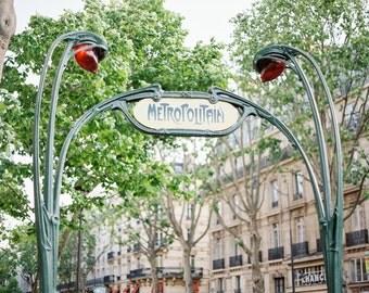 "Paris Photography, Large Wall Art Print, ""Metropolitain"", Paris Wall Decor, Fine Art Photography, Travel Photography"