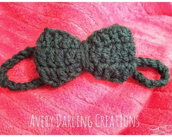 Skinny Crochet Bow Headband