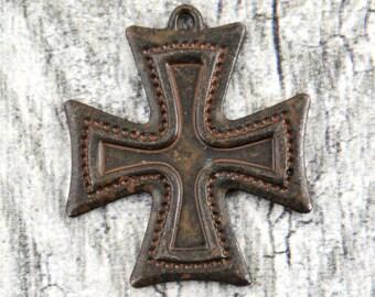 Antiqued Cross, Decorative Cross, Large Cross, Rustic Cross Pendant, Artisan Cross, Religious Cross, Cross Charm
