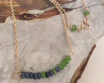 Minimalist 14k Gold Filled Necklace, Green Jade, Blue Jade