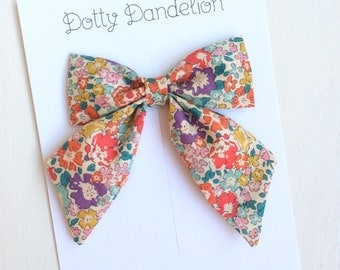 Liberty Sailor Bow | Girls Hair Clip, Liberty of London, Liberty Hair Clip, Floral Hair Bow, Fabric Hair Bow, Liberty Michelle Hair Bow