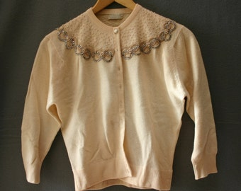 Beautiful Frances Lesley Rhinestone and Pearl  Beaded Cashmere Sweater