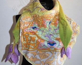 Nuno felted floral scarf, Spring Tulip artistic silk felt wool nuno felted scarf,eco felted shawl, nunofelted wool scarf