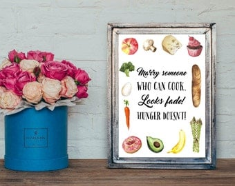 Marry someone who can cook Printable, A4, Kitchen Wall Art
