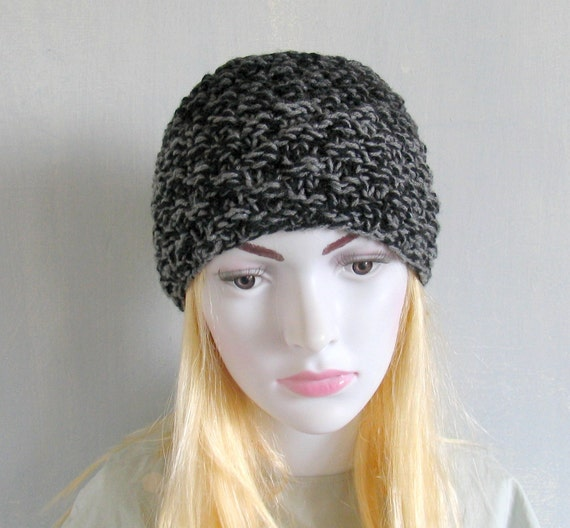 Knitted Mens Headband Guys Knit Hair Wrap Black Unisex Adults