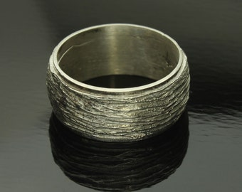 Tree Bark Ring Sterling Silver Thick Band