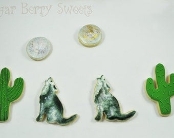 Howling Wolf - Sugar Cookies - 1 Dozen - Desert - Wild West - SouthWest - full moon  -cactus - extremely detailed and unique