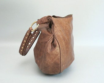 Brown Leather Hobo Shoulder Bag