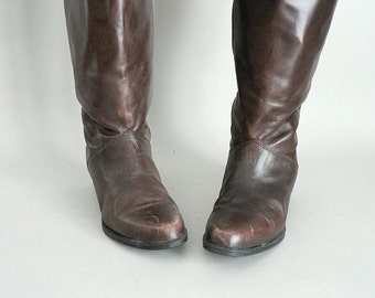 Womens Tall Brown Leather Winter Boots Size 7.5
