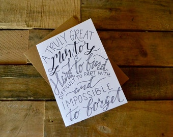 Handwritten Greeting Card | Great Mentor | 1 Card + Envelope