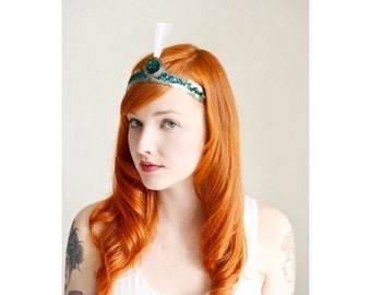 Vintage Sequin Headband, 20s Style Costume from 1960, Flapper Bride