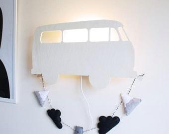 Campervan wall lamp - Wooden lamp -  Night light - Nursery Decor - Nursery decor - Lighting