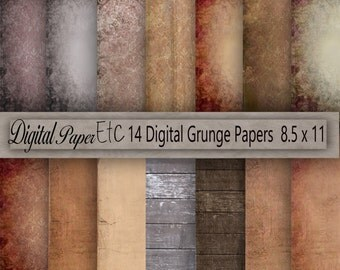 Printable Grungy Textures, Grunge Printable Background, Grungy Scrapbook Paper, Grungy Digital Paper, Instant Download, Commercial P 89Sb