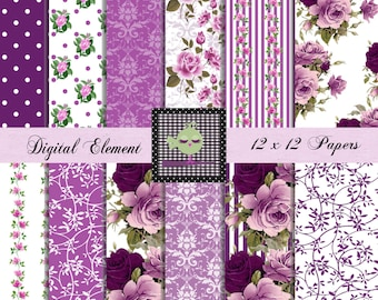Digital Scrapbook Paper, Lilac and Purple Rose Paper, Fuchia Digital Paper, Decoupage Paper, Rose Wedding Paper, Shabby Chic. No.V7.14.DB
