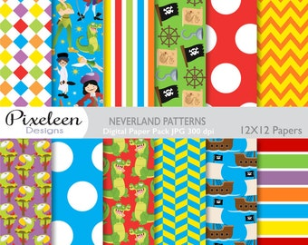 Neverland Digital Paper, Neverland Patterns, chevron, polka dots, stripes, for scrapbooking, invitations, paper crafts, INSTANT DOWNLOAD