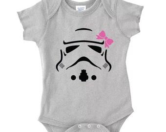 Star Wars Storm Trooper onesie, star wars onsie, baby gift, baby shower gift, star wars, baby bodysuit, 2 choices S00071 (Heather Onesie)