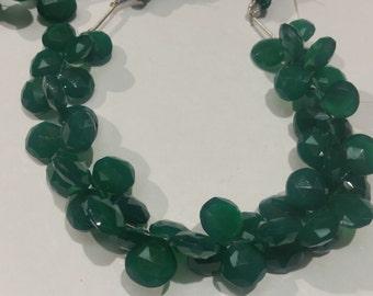 Green Onex Faceted Heart Shape Briolette , Onex heart shape 13mm