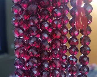 """6mm Garnet Round faceted Beads, Length of strand 14 """" very beautiful and AAA quality beads"""