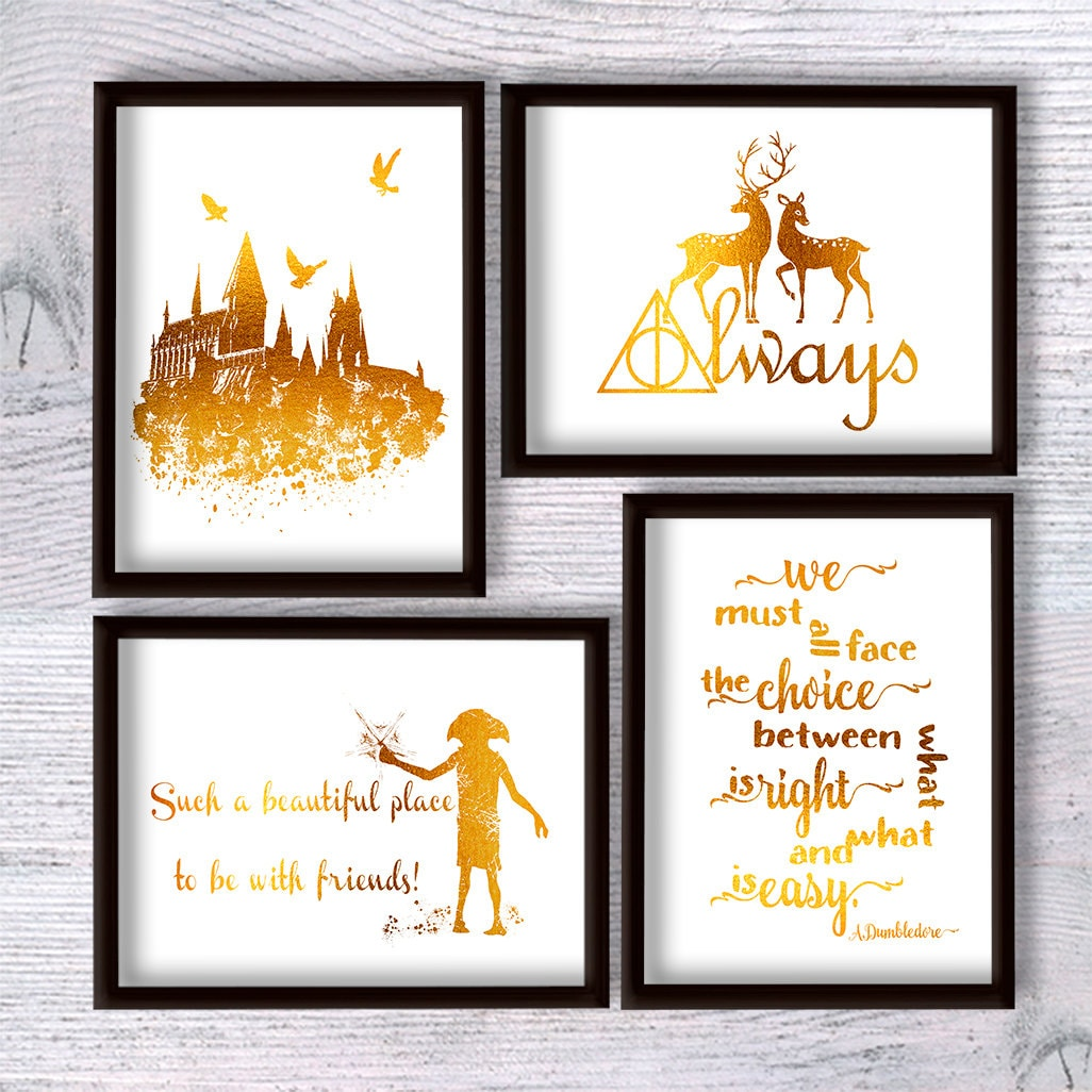 Harry Potter Print Harry Potter Poster Harry Potter Set Of 4