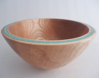 Wooden Bowl Decorative Wood Bowl Ash Turquoise Inlay Hand Turned