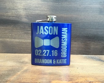 Set of 4 Groomsmen Flasks, Personalized Engraved Groomsman Flask, Personalized Groomsman Flask, Wedding Party Flask, Best Man Flask, Hip
