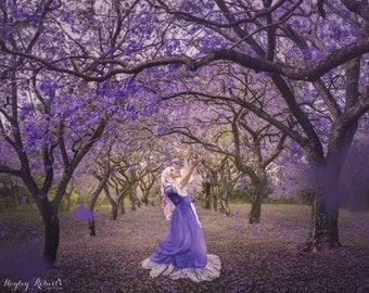 Dance of the Jacarandas - A conceptual fine art photography print / wall art - A girl dancing under purple Jacaranda trees in spring