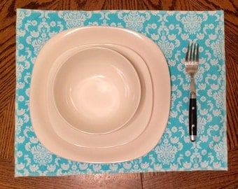 Light Blue Cloth Placemats (Set of 2 or 4)