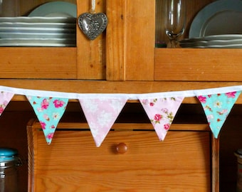 Bunting - pink & turquoise flowers