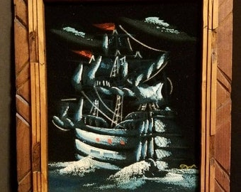 Vintage Velvet Blue Painting of Ship. Mexican wooden frame