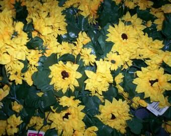 Teters Silk Flower Lot Sunflower Vines 15 pieces J08