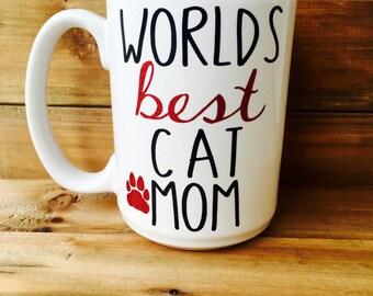 World's Best Cat Mom Mug||Cat lover mug||Cat Mom Coffee mug||