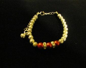 Beaded Bracelet - Red, Black and Lite Blue
