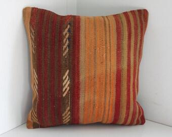 pastel kilim pillow 18x18 kilim pillow 18x18 kilim cushion cover flat woven Turkish kilim pillow throw pillow striped kilim pillowcase 18