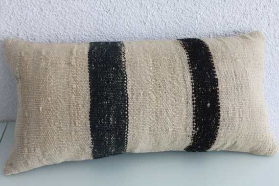 black and white kilim lumbar cushion white stripe pillow 12 x
