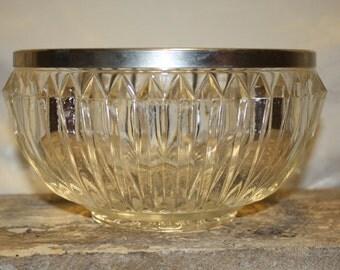 Vintage metal rimmed crystal bowl