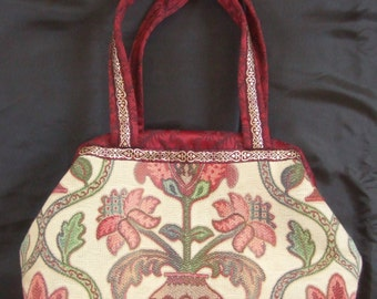 Carpet bag, Tapestry Fabric, Braid Trim, Burgundy Lining and Handles
