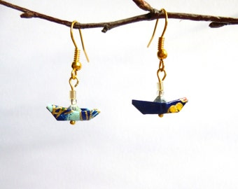 Miniature Origami Boat Earrings, Blue and Gold, Gold Plated Earring Hooks