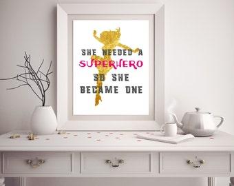 Printable Wall Art - Superhero - Wonder Woman - Instant Download