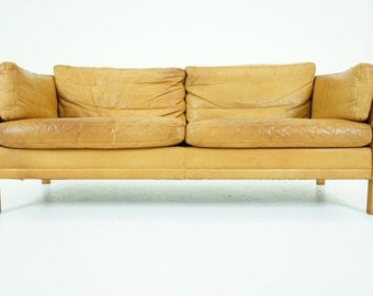 307-055 SALE! Danish Mid Century Modern Leather Sofa Couch