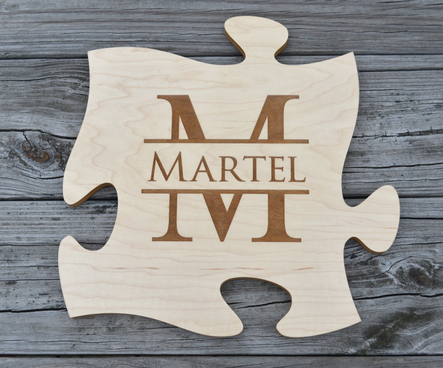 personalized puzzle piece unique wall art monogram