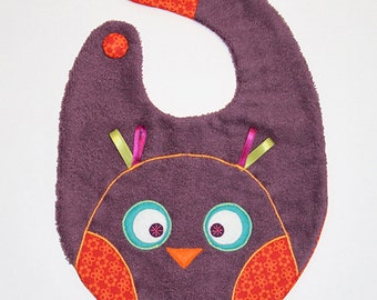 Little bird bib plum color