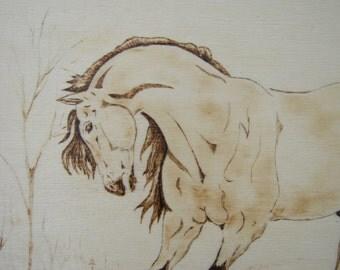 wood plaque horse, buckskin horse