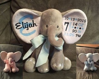Personalized Birth Announcement Elephant -Gray, Pink, or Blue