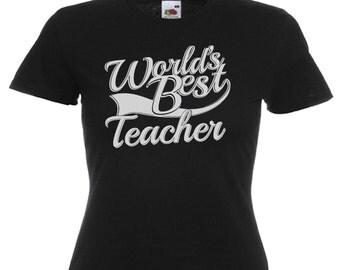 World's Best Teacher Gift Ladies Women's Black T Shirt Sizes From UK size 6 - UK size 16