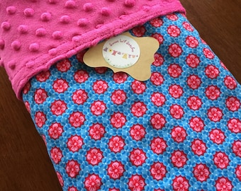 Handmade Baby Blanket Minky Dots with flowers/hot pink minky