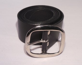Silver Nickel Plated Buckle with 2 Inch Leather Jean Belt - Buy yours Today online perfect fit handmade to Measure in UK