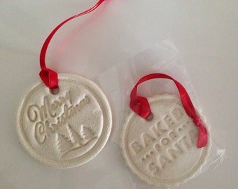 Salt dough Christmas ornaments. Set of two. Red or Green.