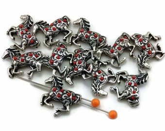11 Enamel Drip Horse Coral Western 2 Hole Slider Bead Mb11389-h9