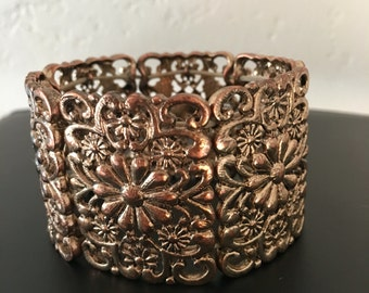 Ornate Floral Gold Tone Stretch Bangle Bracelet