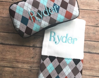 Personalized Baby Boy Argyle Burp Cloth and Travel Wipe Case Gift Set, Monogrammed Baby Boy Argyle Burp Cloth and Travel Wipe Case